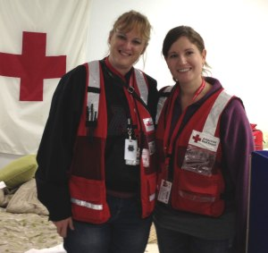 Sue Buelow (l) and Lizzie Kampf (r) while responding to Superstorm Sandy disaster relief in New Jersey.