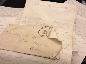 Olufine Fjeld's 1918 letter to her family in Norway. (Photo provided courtesy of Halvor Skurtveit)
