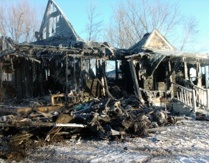 Sue & Jeff's home in Parker's Prairie, MN, after the fire on December 21, 2012. Photo credit: Larry Zirbes/American Red Cross