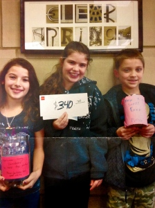 Clear Springs Elementary Students with their well earned donations.