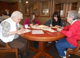 TrekNorth students and Windsong residents sign holiday cards, Bemidji, Nov. 11, 2013.