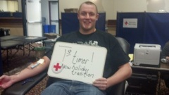 Drayton Carlberg, donating blood for the first time at the 12 Hours of Giving on Decbember 23, 2013.