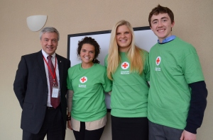 (R to L) Students Shea Brennan, Jenny Leestma, and Bella Wheeler, with regional executive Phil Hansen (far left).