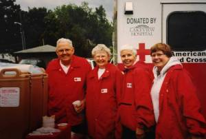 Lori Peterson (far right), and other Red Cross responders. Photo provided courtesy of Ms. Peterson.