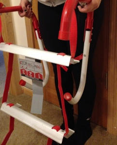 Board member Sara Viker Althoff and her family practiced using their evacuation plan and fire escape ladder.