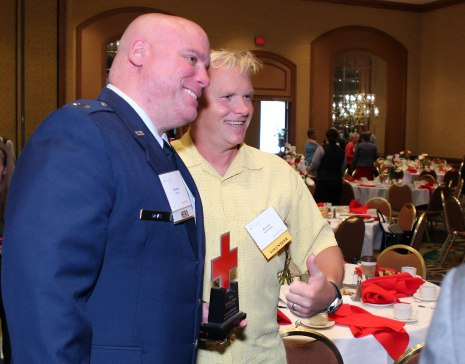 Military Hero Dennis Davis (l) and Red Cross Social Advocate Kevin Schreifels. Photo credit: Andy King