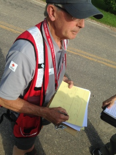Red Cross volunteer Rick Graft during recent flood damage assessment in Blakely Township, MN.