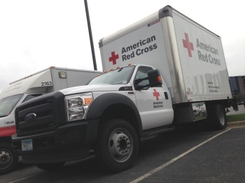 "A Red Cross logistics truck, or ""LIRV"", that responds to disasters. Photo credit: Lynette Nyman/American Red Cross"