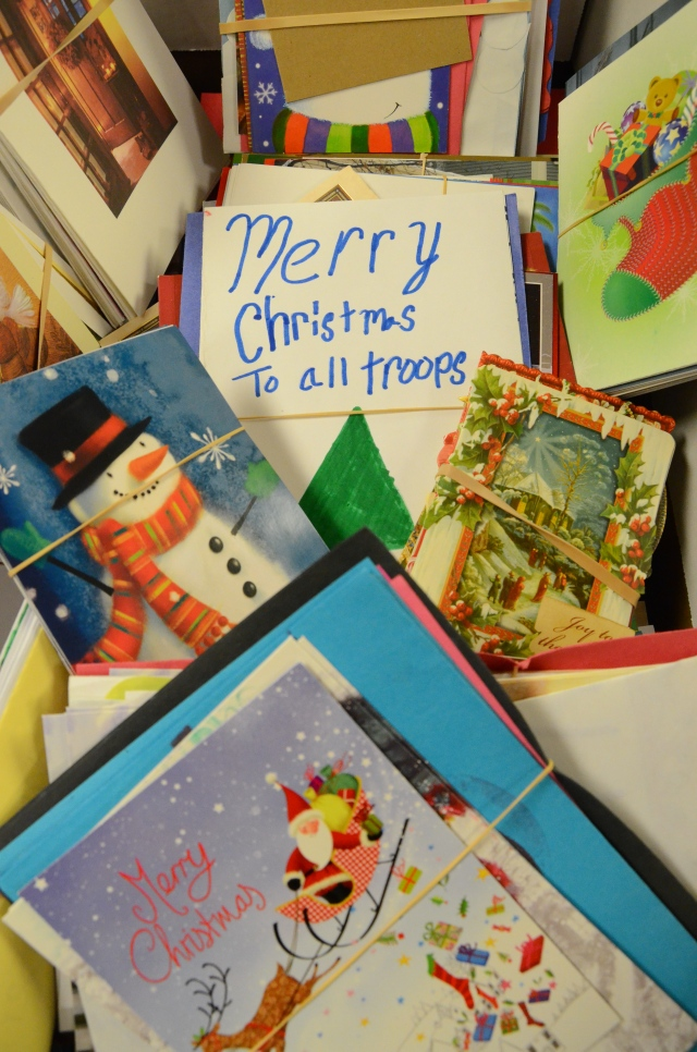 Holiday Mail for Heroes cards from the 2013  writing campaign. Photo credit: Lynette Nyman/American Red Cross