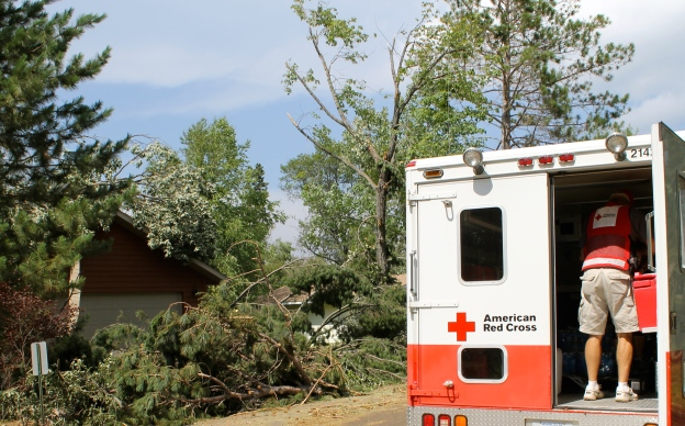 Two Red Cross Emergency Response Vehicles (ERVs) are canvassing the hardest hit areas and bringing aid to those without power and cut-off from other resources by downed lines and trees.