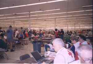 Red Crossers busy at work in the shelter.