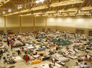 Cots were set up all through the Convention Center for refugees who lost their homes.