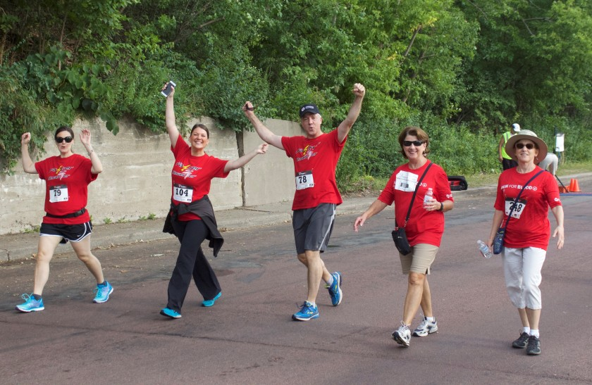 Walkers, too, during the 2016 Run for Blood, Minneapolis, MN. Photo credit: Jonathan Yoon/American Red Cross
