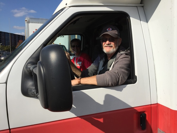 Karen and Rick Campion are taking a Red Cross mobile feeding truck from Minnesota to North Carolina where they distribute meals and relief supplies. October, 11, 2016. Photo credit: Lynette Nyman/American Red Cross